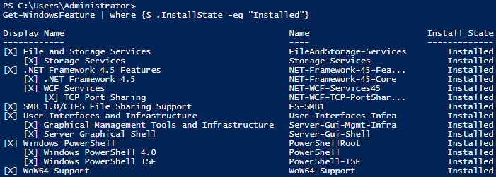 List Windows Server Roles and Features with PowerShell