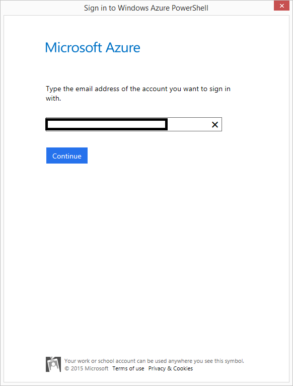 01 Sign In to Windows Azure PowerShell Popup