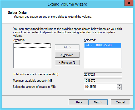 02 Extend Volume Wizard Select Disks