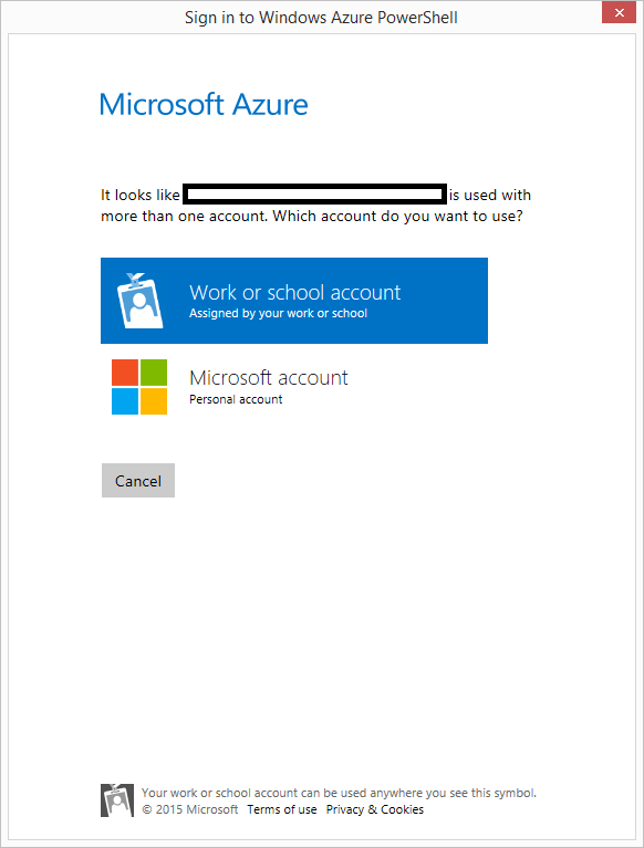 02 Sign In to Windows Azure PowerShell Popup Personal or Work