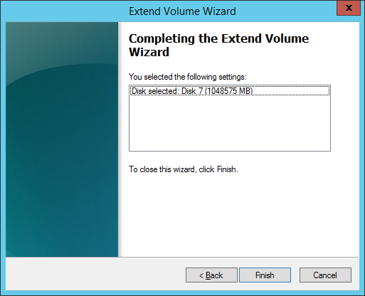 03 Completing the Extend Volume Wizard