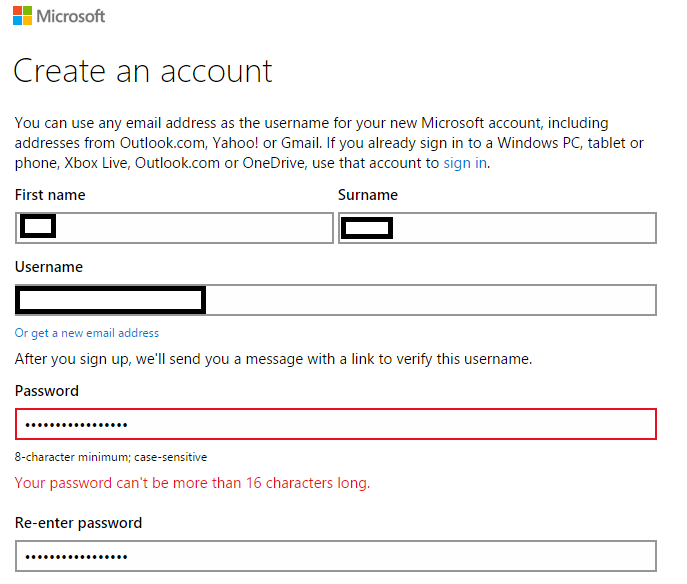 Microsoft Password Limitation for Webmaster Signup