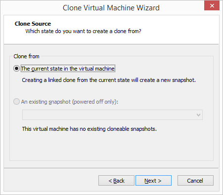 VMware Workstation - Clone Current State