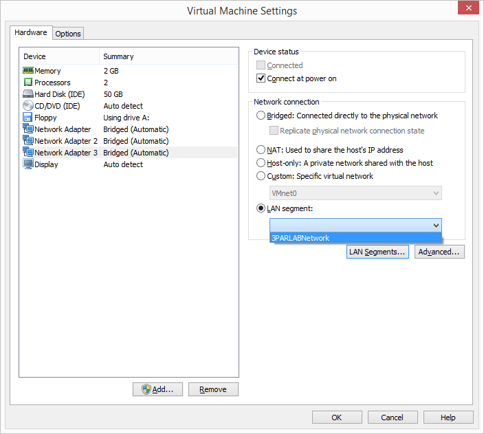 VMware Workstation - Select LAN Segment