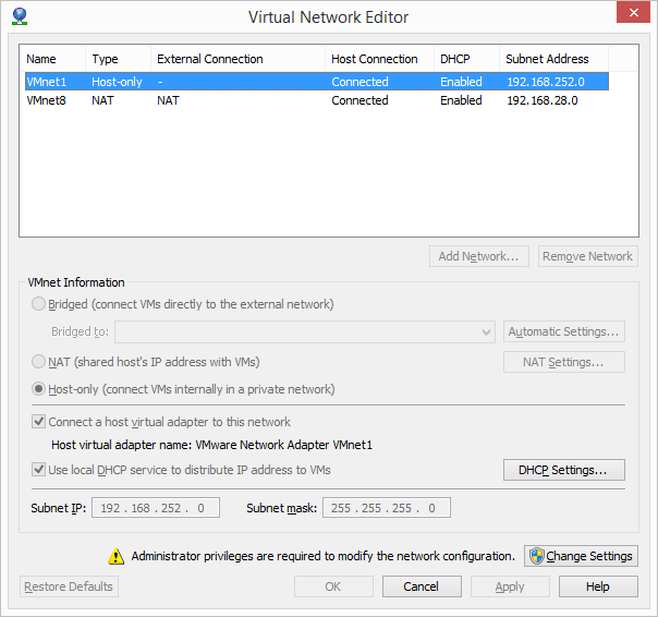 VMware Workstation - Virtual Network Editor