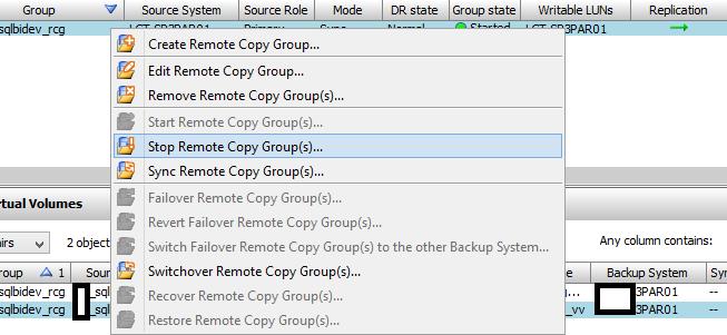 3PAR Management Console - Remote Copy Stop