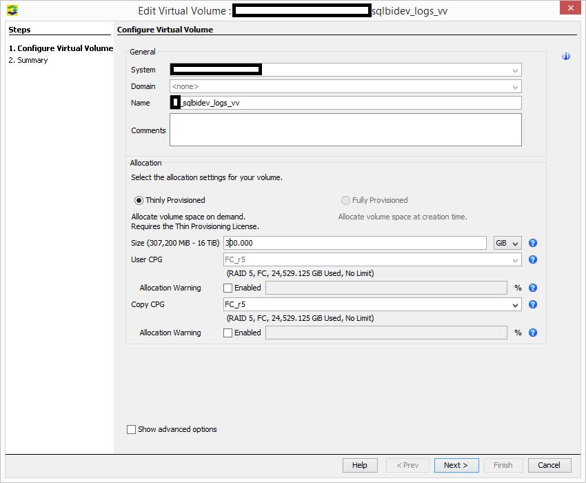 3PAR Management Console - Edit Virtual Volume Size