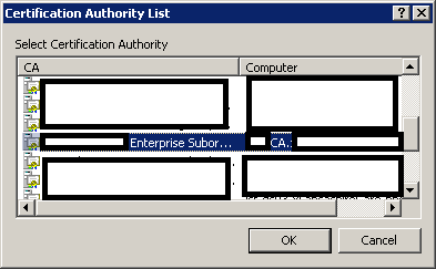 Select Certificate Authority