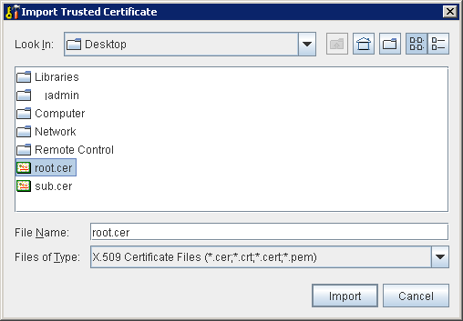 Portecle Import Trusted Certificate
