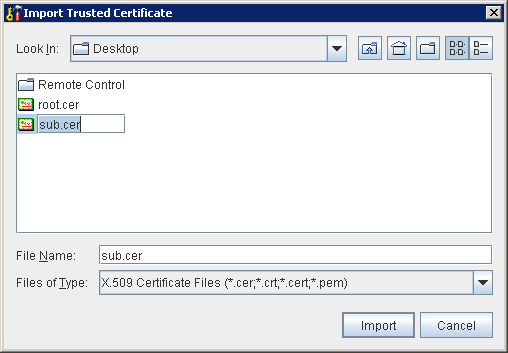 Portecle Import Subordinate Certificate