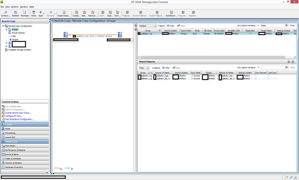 3PAR Management Console - Remote Copy Setup