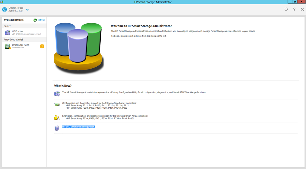 HP Smart Storage Administrator Home Page