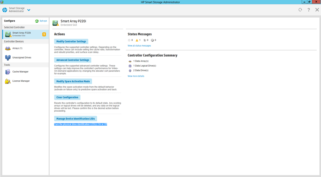 HP Smart Storage Administrator Actions Page