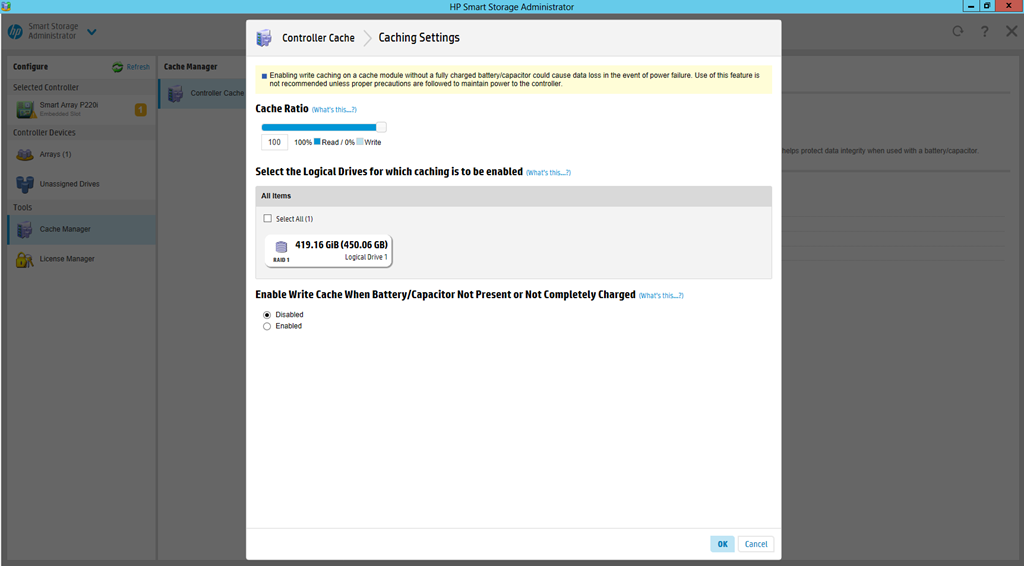 HP Smart Storage Administrator Cache Settings – ByteSizedAlex