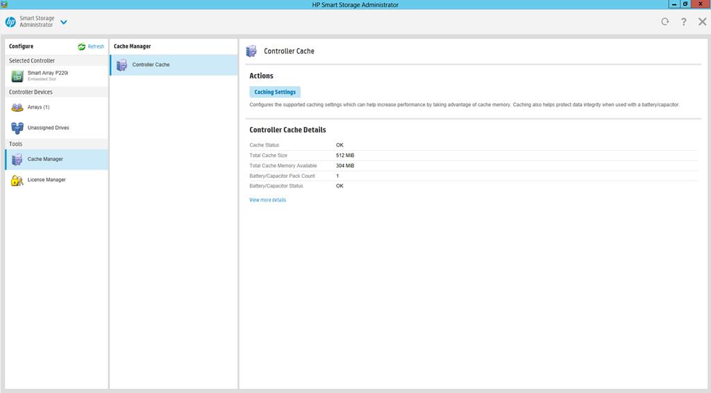HP Smart Storage Administrator Cache Settings – ByteSizedAlex