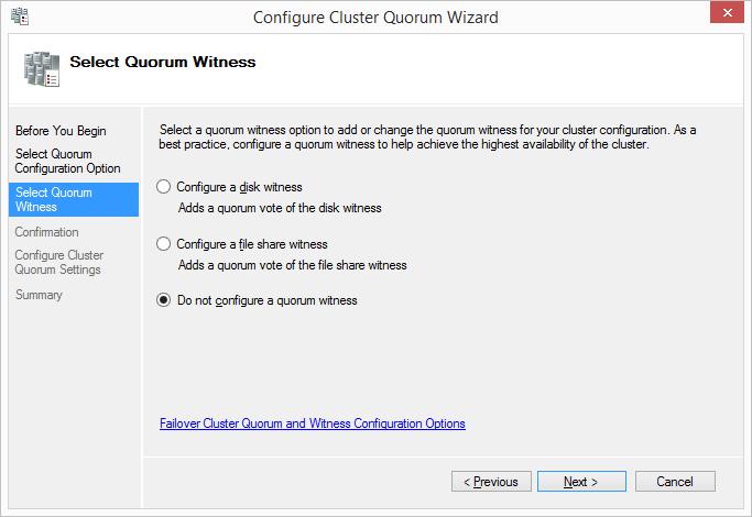 Configure Cluster Quorum Wizard