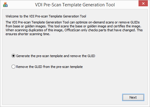 VDI Pre-Scan Template Generation Tool