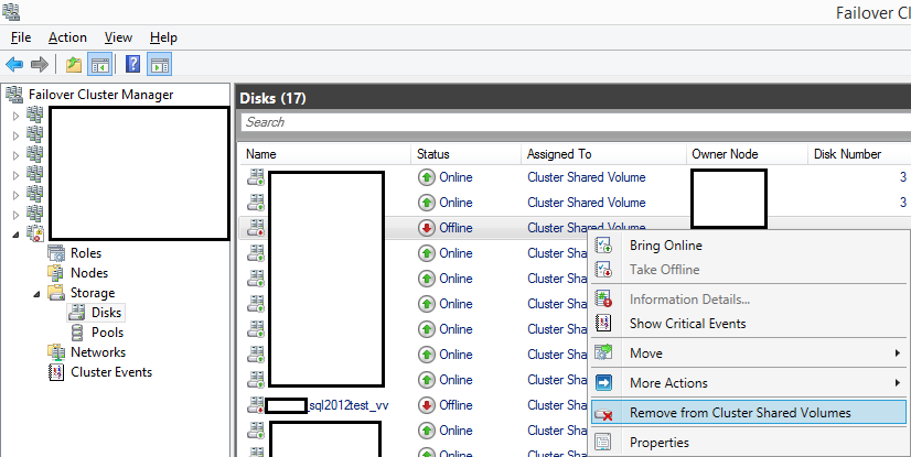 Failover Cluster Manager Remove From Cluster Shared Volumes