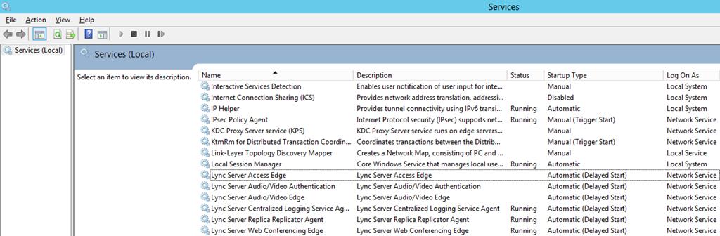 Services MMC Lync Services Not Running