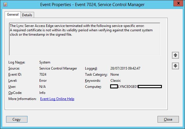 Microsoft Lync Edge Servers Certificate Expiration Issue