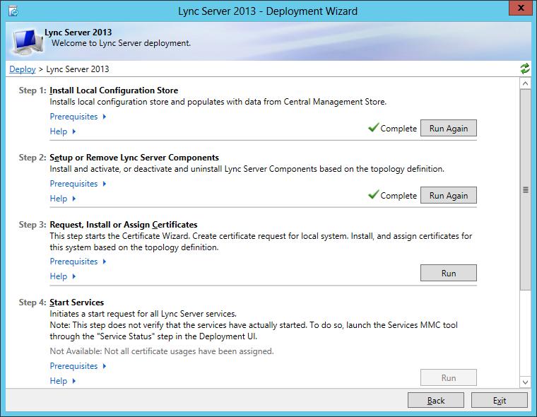 Lync Server 2013 - Deployment Wizard