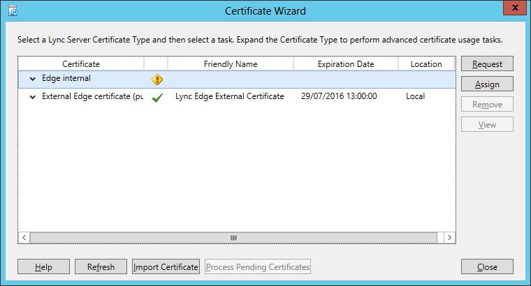 Microsoft lync edge servers certificate expiration issue lync 2013 certificate wizard yelopaper Gallery
