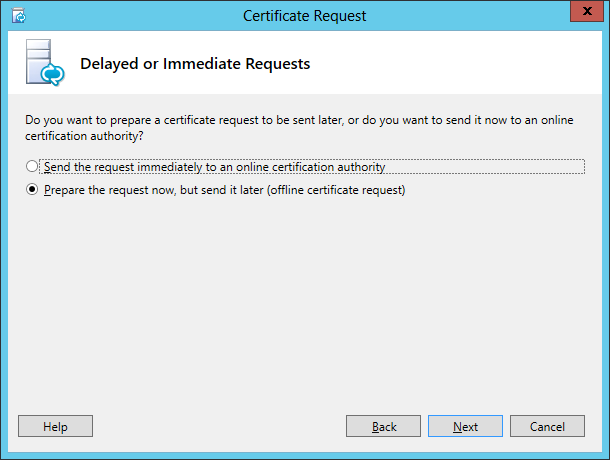 Lync Certificate Request Wizard Step 2 Delayed or Immediate Requests