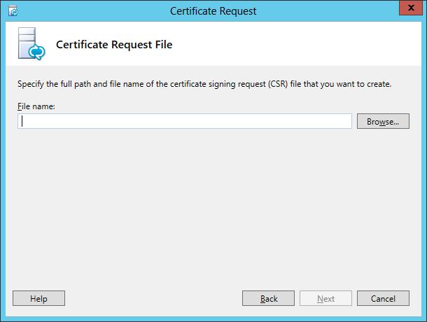 Lync Certificate Request Wizard Step 3 Certificate Request File