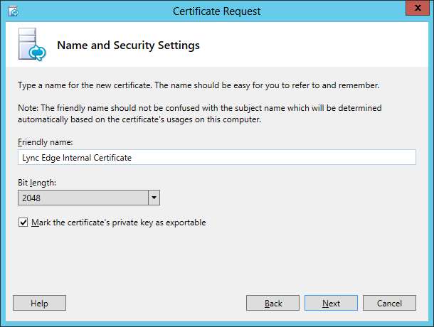 Lync Certificate Request Wizard Step 6 Name and Security Settings