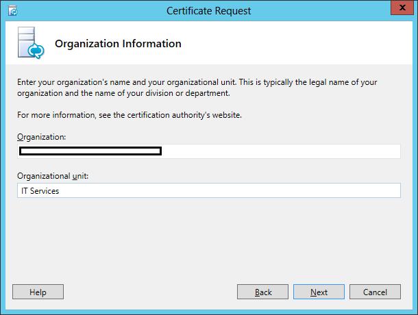 Lync Certificate Request Wizard Step 7 Organisation Information