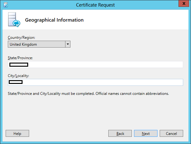 Lync Certificate Request Wizard Step 8 Geographical Information