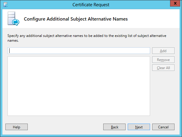 Lync Certificate Request Wizard Step 10 Configure Additional Subject Alternative Names