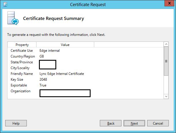 Lync Certificate Request Wizard Step 11 Certificate Request Summary