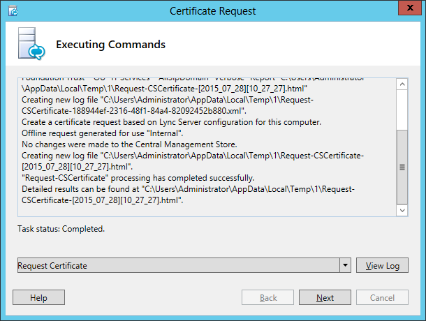 Lync Certificate Request Wizard Step 12 Executing Commands
