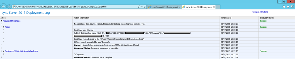 Lync Certificate Request Wizard Executing Commands Log File