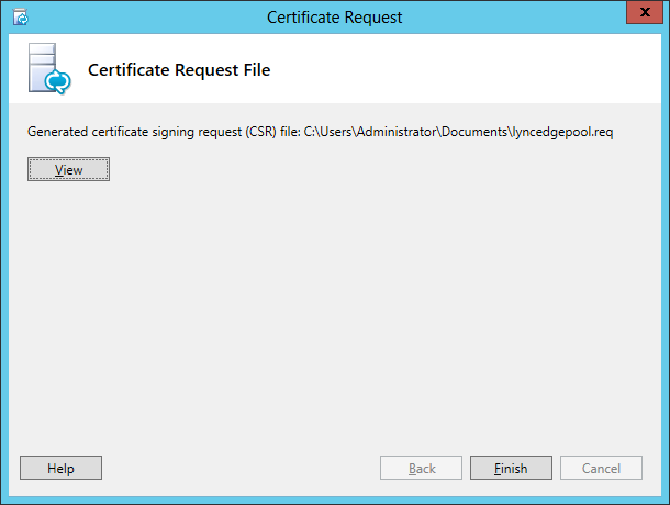 Lync Certificate Request Wizard Step 12 Certificate Request File