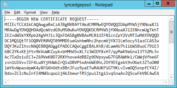 Certificate Signing Request File