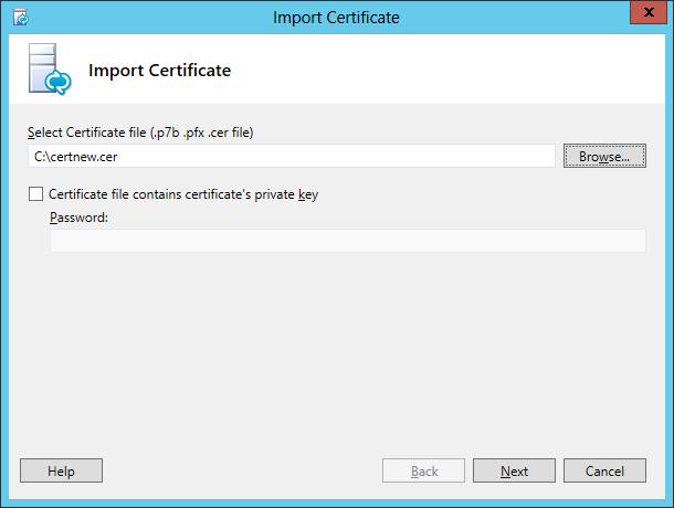 Lync Import Certificate Wizard Step 3 Import Certificate