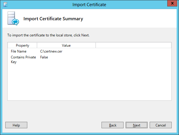 Lync Import Certificate Wizard Step 4 Import Certificate Summary