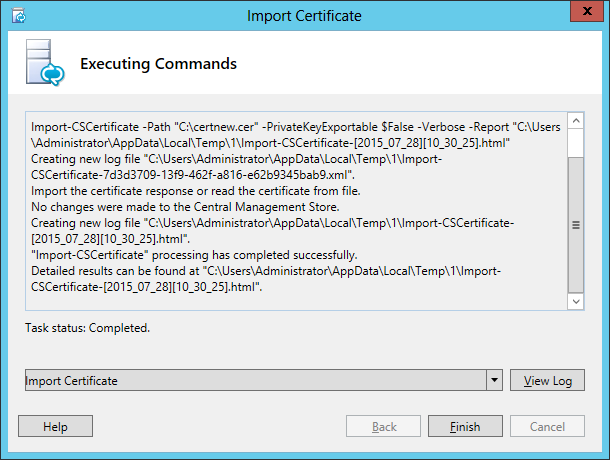 Lync Import Certificate Wizard Step 5 Executing Commands