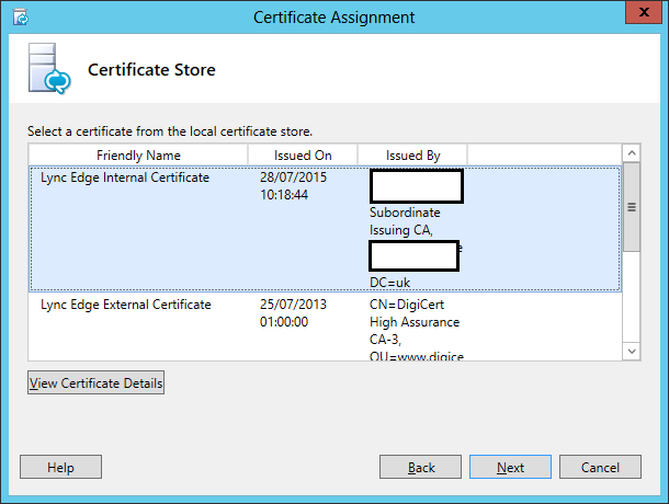 Microsoft lync edge servers certificate expiration issue lync assign certificate wizard step 2 certificate store yelopaper Gallery