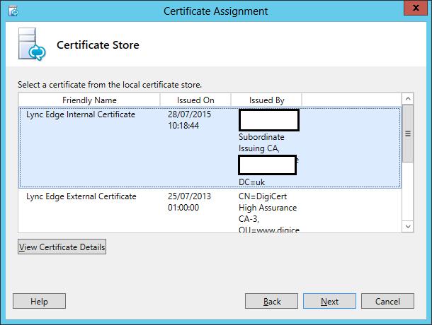 Lync Assign Certificate Wizard Step 2 Certificate Store