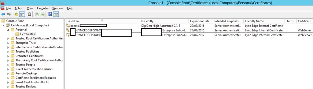 Computer Certificate Store MMC