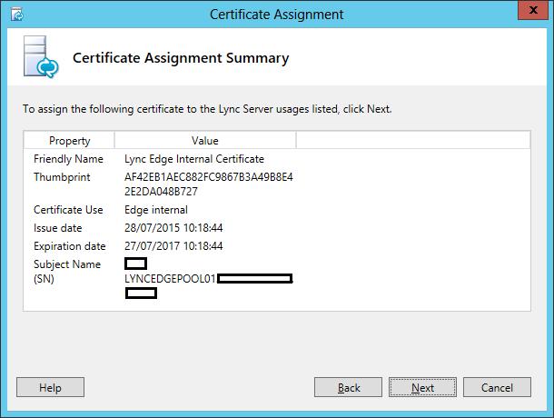 Lync Assign Certificate Wizard Step 3 Certificate Assignment Summary