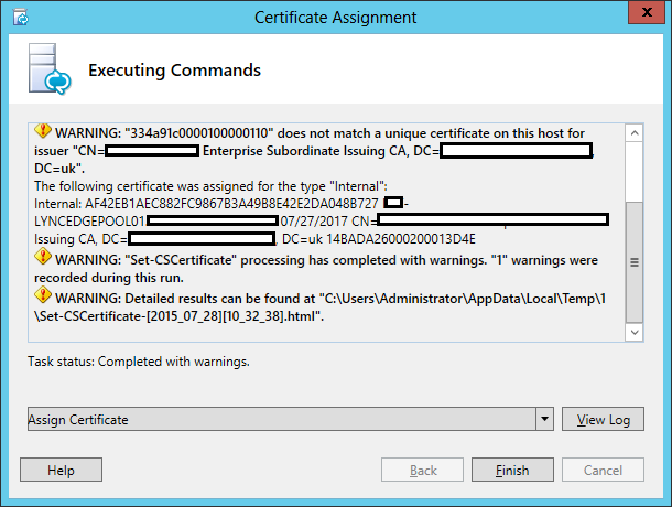 Lync Assign Certificate Wizard Step 4 Executing Commands