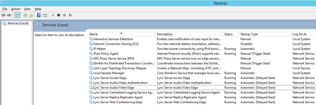 Services MMC Lync Services Running
