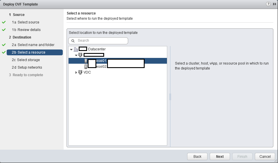 Select vCenter Cluster and Host