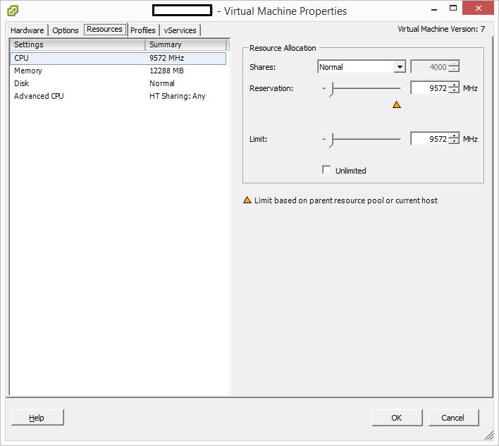 Virtual Machine Properties CPU Resource Allocation - Reservation Set
