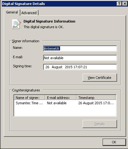3PAR Vision Installer Digital Signature