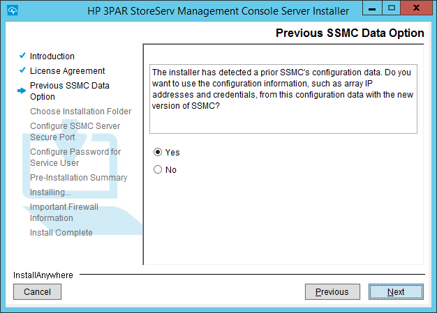 SSMC Install Previous SSMC Data Option